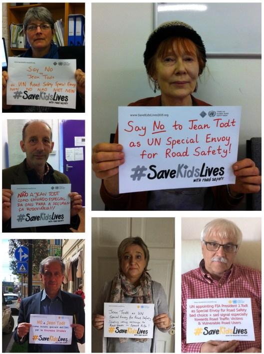 Εκπροσωπων οργανωσεων θυματων τροχαίων, απο την Ιταλία, Λουξεμβούργο, Ην. Βασίλειο, Πορτογαλία, Ιρλανδία, Λουξεμβούργο που διαμαρτυρονται για αυτην την επιλογή